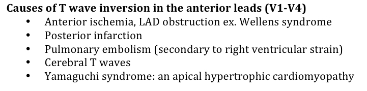 Causes of T wave Inversion in the Anterior Leads